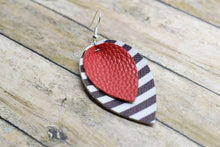Load image into Gallery viewer, RED WITH BLACK AND WHITE STRIPES FAUX LEATHER EARRINGS - MAGNOLIA