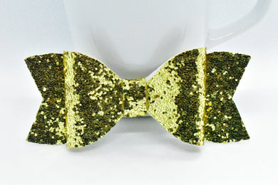 GOLD GLITTER FAUX LEATHER BOW - Handmade Creations by Liz