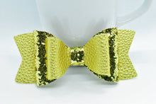 Load image into Gallery viewer, GOLD GLITTER AND GOLD MATTE FAUX LEATHER BOW - Handmade Creations by Liz