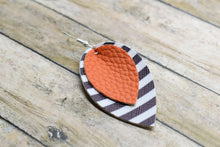 Load image into Gallery viewer, ORANGE WITH BLACK AND WHITE STRIPES FAUX LEATHER EARRINGS - MAGNOLIA