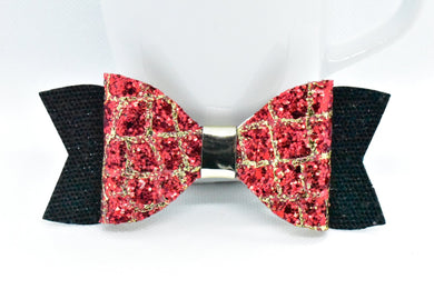RED/GOLD GATOR GLITTER AND BLACK SHIMMER FAUX LEATHER BOW - Handmade Creations by Liz