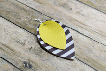 Load image into Gallery viewer, YELLOW WITH BLACK AND WHITE STRIPES FAUX LEATHER EARRINGS - MAGNOLIA