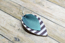 Load image into Gallery viewer, FOREST GREEN WITH BLACK AND WHITE STRIPES FAUX LEATHER EARRINGS - MAGNOLIA