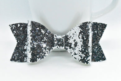 SILVER GLITTER FAUX LEATHER BOW - Handmade Creations by Liz