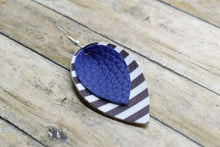 Load image into Gallery viewer, ROYAL BLUE WITH BLACK AND WHITE STRIPES FAUX LEATHER EARRINGS - MAGNOLIA