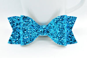 ICE BLUE GLITTER FAUX LEATHER BOW - Handmade Creations by Liz