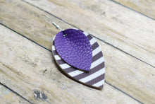 Load image into Gallery viewer, PURPLE WITH BLACK AND WHITE STRIPES FAUX LEATHER EARRINGS - MAGNOLIA