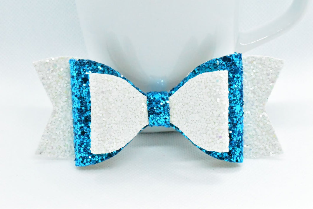 WHITE AND ICE BLUE GLITTER FAUX LEATHER BOW - Handmade Creations by Liz