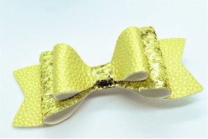 GOLD GLITTER AND GOLD MATTE FAUX LEATHER BOW - Handmade Creations by Liz