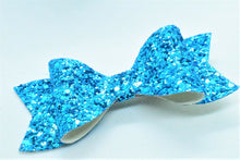 Load image into Gallery viewer, ICE BLUE GLITTER FAUX LEATHER BOW - Handmade Creations by Liz