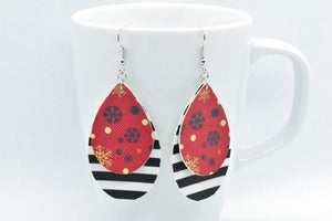 FAUX LEATHER TEARDROP EARRINGS - RED SNOWFLAKES AND BLACK AND WHITE STRIPES - Handmade Creations by Liz