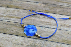 BLUE CIRCLE CHARM BRACELET - Handmade Creations by Liz