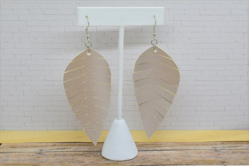CHAMPAGNE FRINGE FAUX LEATHER EARRINGS - LEAF - Handmade Creations by Liz