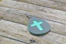 Load image into Gallery viewer, GRAY AND AQUA CROSS FAUX LEATHER EARRINGS - TEARDROP - Handmade Creations by Liz