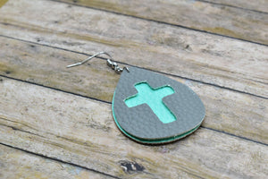 GRAY AND AQUA CROSS FAUX LEATHER EARRINGS - TEARDROP - Handmade Creations by Liz