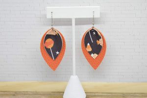BLACK WITH CANDY AND ORANGE FAUX LEATHER EARRINGS - MAGNOLIA