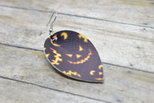 Load image into Gallery viewer, BLACK JACK O LANTERNS FAUX LEATHER EARRINGS - MAGNOLIA