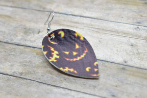 BLACK JACK O LANTERNS FAUX LEATHER EARRINGS - MAGNOLIA