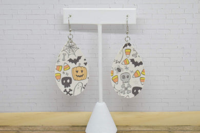 WHITE AND ORANGE HALLOWEEN FAUX LEATHER EARRINGS - TEARDROP