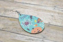 Load image into Gallery viewer, BLUE HALLOWEEN LEATHER EARRINGS - TEARDROP