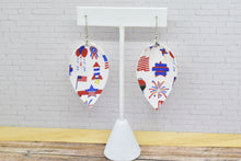 Load image into Gallery viewer, 4TH OF JULY FAUX LEATHER EARRINGS - MAGNOLIA - Handmade Creations by Liz
