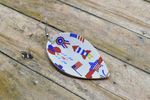 4TH OF JULY FAUX LEATHER EARRINGS - MAGNOLIA - Handmade Creations by Liz
