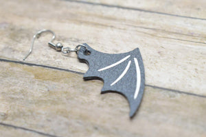 BLACK BAT WING HALLOWEEN LEATHER EARRINGS
