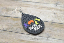 Load image into Gallery viewer, BLACK HOCUS POCUS HALLOWEEN LEATHER EARRINGS - TEARDROP