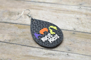 BLACK HOCUS POCUS HALLOWEEN LEATHER EARRINGS - TEARDROP