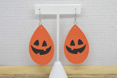 ORANGE JACK O LANTERN HALLOWEEN LEATHER EARRINGS - TEARDROP