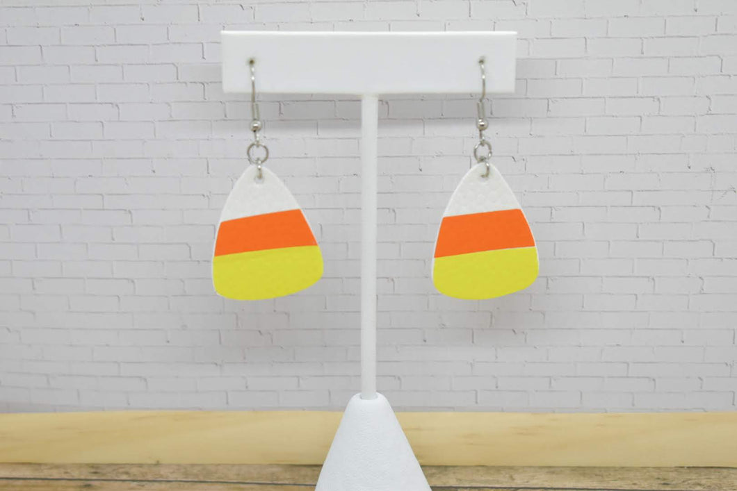 CANDY CORN HALLOWEEN FAUX LEATHER EARRINGS