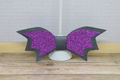 PURPLE AND BLACK BAT WINGS FAUX LEATHER BOW - Handmade Creations by Liz
