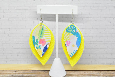 SUMMER PATTERN AND YELLOW FAUX LEATHER EARRINGS - LEAF - Handmade Creations by Liz