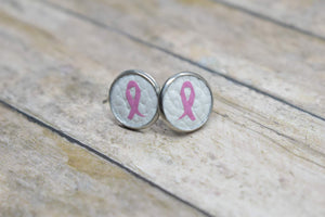 BREAST CANCER AWARENESS WHITE FAUX LEATHER EARRINGS - STUDS