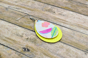 SUMMER PATTERN AND YELLOW FAUX LEATHER EARRINGS - TEARDROP - Handmade Creations by Liz
