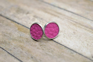 HOT PINK FAUX LEATHER EARRINGS - STUDS