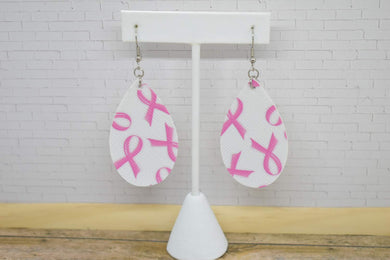 BREAST CANCER AWARENESS FAUX LEATHER EARRINGS - TEARDROP
