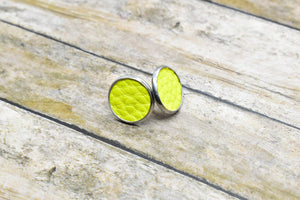 YELLOW FAUX LEATHER STUD EARRINGS - Handmade Creations by Liz