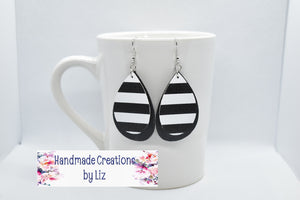 BLACK AND WHITE STRIPES WITH BLACK FAUX LEATHER EARRINGS - TEARDROP - Handmade Creations by Liz