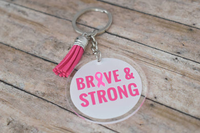 BRAVE & STRONG - BREAST CANCER AWARENESS KEYCHAIN