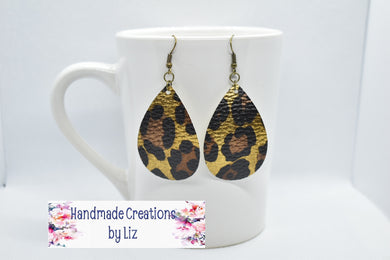 LEOPARD FAUX LEATHER EARRING - TEARDROP - Handmade Creations by Liz