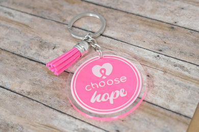 CHOOSE HOPE - BREAST CANCER AWARENESS KEYCHAIN