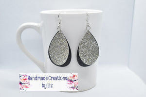 SILVER SHIMMER AND BLACK FAUX LEATHER EARRING - TEARDROP - Handmade Creations by Liz