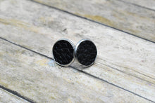 Load image into Gallery viewer, BLACK FAUX LEATHER STUD EARRINGS - Handmade Creations by Liz