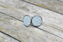 Load image into Gallery viewer, WHITE FAUX LEATHER STUD EARRINGS - Handmade Creations by Liz