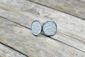 WHITE FAUX LEATHER STUD EARRINGS - Handmade Creations by Liz