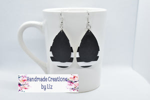 BLACK WITH BLACK AND WHITE STRIPES FAUX LEATHER EARRINGS - TEARDROP - Handmade Creations by Liz