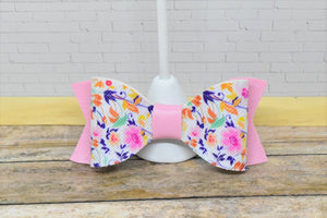 FLORAL PATTERN AND PINK - SMALL FAUX LEATHER BOW - Handmade Creations by Liz