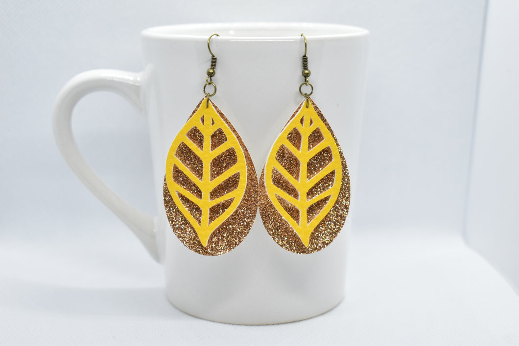 YELLOW LEAF AND BRONZE SHIMMER FAUX LEATHER EARRINGS - TEARDROP - Handmade Creations by Liz