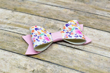 Load image into Gallery viewer, FLORAL PATTERN AND PINK - SMALL FAUX LEATHER BOW - Handmade Creations by Liz